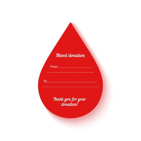 Red drop of blood donation in paper cut out style. Blood donor data card template. Thank you transfusion sticker. Vector concept medical patient care banner hemophilia, anemia, leukemia illness.  イラスト・ベクター素材