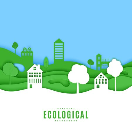Cutout paper trees and building green and white wave blue sky. Template in cut paper style for save the Earth posters, city ecology brochures, ienvironmental Protection. Vector card illustration