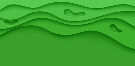 Abstract green flyer in cut paper style. Cutout grass wave template for save the Earth posters, ecology brochures, presentations, invitations with place for text .Vector horizontal card illustration.  イラスト・ベクター素材