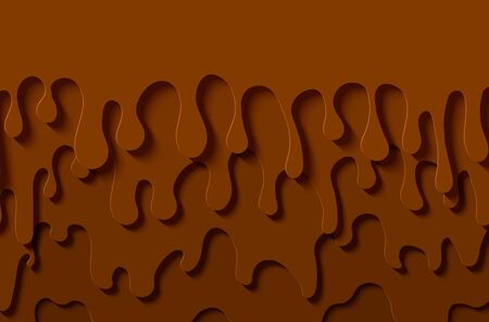 Brown abstract background in paper cut style. Layers of melted chocolate flow down. Papercut silhouette drops of slime. Vector card illustration.  イラスト・ベクター素材