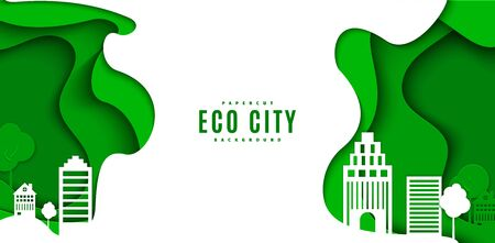 Abstract green flyer in cut paper style. Cutout white trees and building wave template for save the Earth posters, city ecology brochures, ienvironmental Protection .Vector horizontal illustration