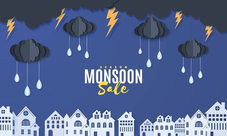 Clouds and raindrops hang on a rope over houses in paper cut style. Clouds thunderstorm and rain in blue night sky and city buildings. Vector stormy weather concept. Monsoon sale banner template
