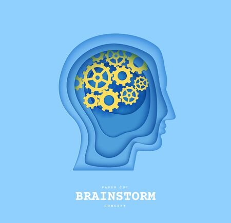 Man brainstorm head in paper cut style. Silhouette of layered human with think gears in brain. Origami skull papercut profile with idea sign on the depth of layers cardboard. Creative vector concept