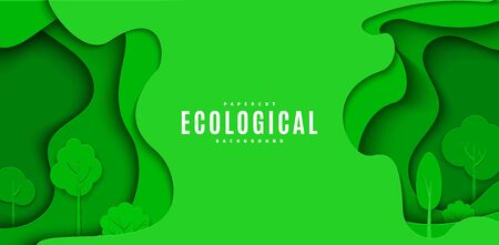 Abstract green flyer in cut paper style. Cutout trees grass wave template for save the Earth posters, ecology brochures, presentations, ienvironmental Protection .Vector horizontal card illustration