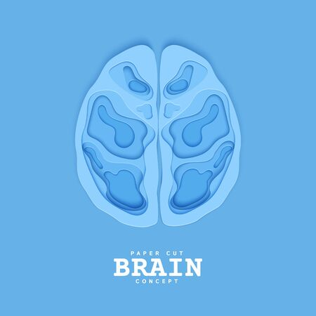 Section of the human brain in papercut style. Blue cardboard cutting layers symbol of right and left hemisphere. Creative vector brainstorm concept for business flyers, teamwork posters.  イラスト・ベクター素材