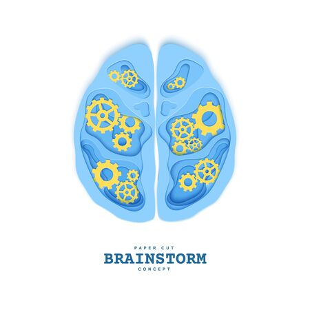 Section of the human brain with gear in papercut style. Blue cardboard cutting layers symbol of right and left hemisphere. Creative vector brainstorm concept for business flyers, teamwork posters.  イラスト・ベクター素材
