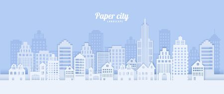 City landscape in papercut style. White paper cut office, residential buildings for city ecology brochures environmental Protection housing rental advert Vector card architecture horizontal panorama.  イラスト・ベクター素材