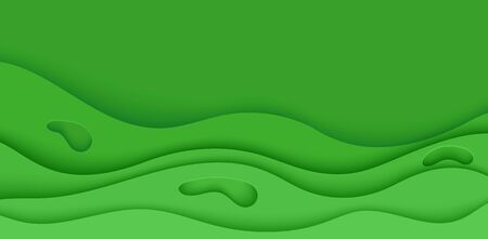 Abstract green flyer in cut paper style. Cutout grass wave template for save the Earth posters, ecology brochures, presentations, invitations with place for text .Vector horizontal card illustration  イラスト・ベクター素材