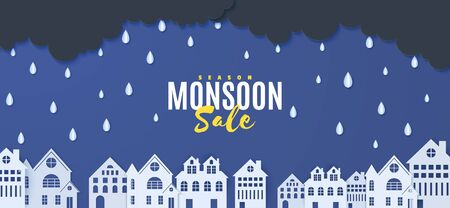 Rain and clouds over houses in the paper cut style. Vector clouds and rain in blue night sky background and city buildings. Storm papercut monsoon sale horizontal banner.