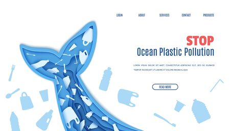 Web page design template stop ocean plastic pollution in paper cut style. Tail fin in the form papercut layer cave with plastic bag for rubbish, bottle disposable tableware. Vector ecological concept 向量圖像
