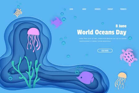 Web page design template in paper cut style underwater ocean cave with fishes coral reef seabed in algae waves. Vector butterflyfish, jellyfish, moonfish, turtle. Paper craft diving website concept Ilustração