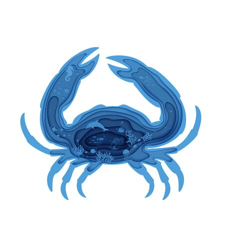 Silhouette of crab cut out of paper. Papercut marine butterflyfish, jellyfish, moonfish, turtle. Craft underwater ocean cave with fishes, coral reef, seabed algae waves. Vector World Ocean Day concept
