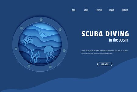 Web page design template in paper cut style underwater ocean underwater view through cave porthole. Coral reef seabed fish in algae waves. Vector paper craft diving World Water Day website concept