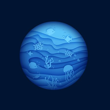 View of the underwater world through the porthole of a submarine in paper cut style. Vector butterfly fish jellyfish moonfish turtle. Paper craft underwater ocean diving concept deep blue marine life. Foto de archivo - 134922479