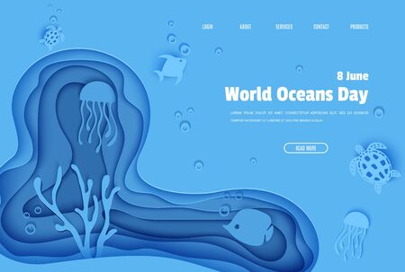 Web page design template in paper cut style underwater ocean cave with fishes coral reef seabed in algae waves. Vector butterflyfish, jellyfish, moonfish, turtle. Paper craft diving website concept Vectores