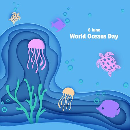 Paper cut butterflyfish, jellyfish, moonfish, turtle. Paper craft square background underwater ocean cave with fishes coral reef seabed in algae waves. Diving concept deep blue marine life. Vector sea
