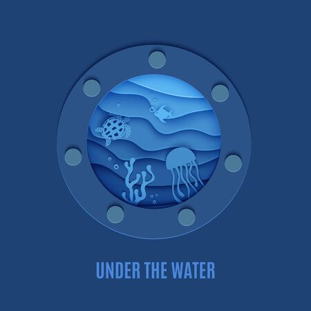 View of the underwater world through the porthole of a submarine in paper cut style. Vector butterfly fish jellyfish moonfish turtle. Paper craft underwater ocean diving concept deep blue marine life. Vectores