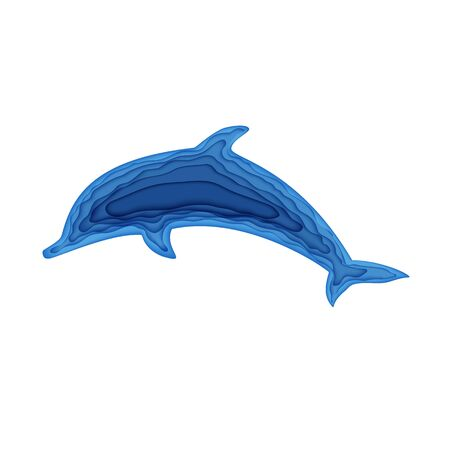 Silhouette of a of jumping dolphin cut out of paper. Papercut 3d element marine. Craft underwater ocean cave in blue color. Vector World Ocean Day June 8 World Whale and Dolphin Day July 23 concept.