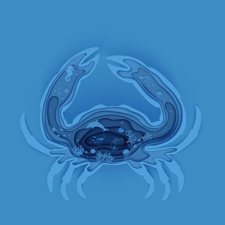 Silhouette of crab cut out of paper. Papercut marine butterflyfish, jellyfish, moonfish, turtle. Craft underwater ocean cave with fishes, coral reef, seabed algae waves, Vector World Ocean Day concept