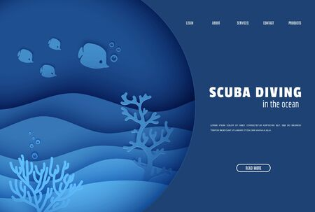Web page design template in paper cut style underwater ocean underwater view through cave porthole. Coral reef seabed fish in algae waves. Vector paper craft diving World Water Day website concept.