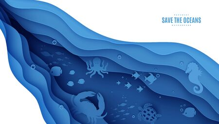 Paper cut butterflyfish, sea horse, moonfish, turtle, crab, octopus. Paper craft background under ocean cave with fishes coral reef seabed in algae waves. Vector sea marine life concept