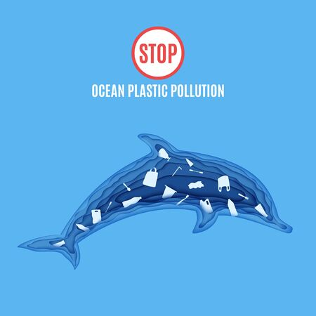 Dolphin inside plastic waste in paper cut style. Poster design template stop ocean plastic pollution. Vector ecological concept. Craft cardboard underwater ocean cave in blue color