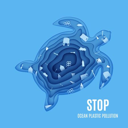 Silhouette of a turtle cut out of paper and stop ocean pollution banner. Craft underwater ocean deep cave with plastic rubbish. Papercut trash agitational environment poster. Vector World Ocean Day. 向量圖像