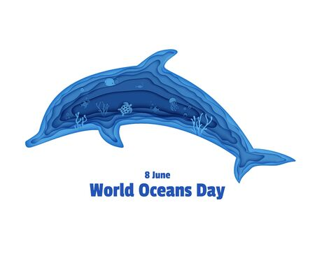 Silhouette of a dolphin cut out of paper. Papercut butterflyfish, jellyfish, moonfish, turtle. Craft underwater ocean cave with fishes, coral reef, seabed algae, waves. Vector World Ocean Day concept