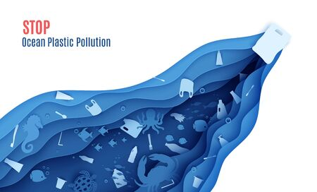 Stop ocean plastic pollution banner design template in paper cut style. Papercut butterfly fish, seahorse, moonfish, turtle, crab, octopus and plastic trash. Vector World Oceans Day concept. Vectores