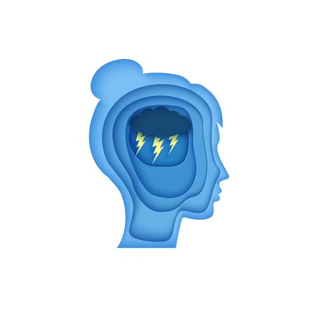 Woman brain silhouette head with cloud and lightning in paper cut style. . Wotld Mental health Day 10 October element concept. Psychology and psychiatry bad mood, OCD depressive state of mind, anger. Illustration