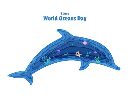 Silhouette of a dolphin cut out of paper. Papercut butterflyfish, jellyfish, moonfish, turtle. Craft underwater ocean cave with fishes, coral reef, seabed algae, waves. Vector World Ocean Day concept.