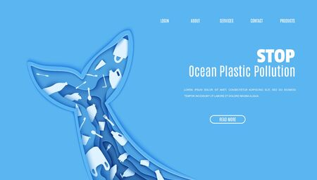 Web page design template stop ocean plastic pollution in paper cut style. Tail fin in the form papercut layer cave with plastic bag for rubbish, bottle, disposable tableware. Vector ecological concept 向量圖像