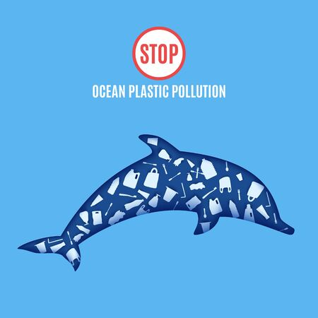 Dolphin inside plastic waste in paper cut style. Poster design template stop ocean plastic pollution. Vector ecological concept. Craft cardboard underwater ocean cave in blue color.