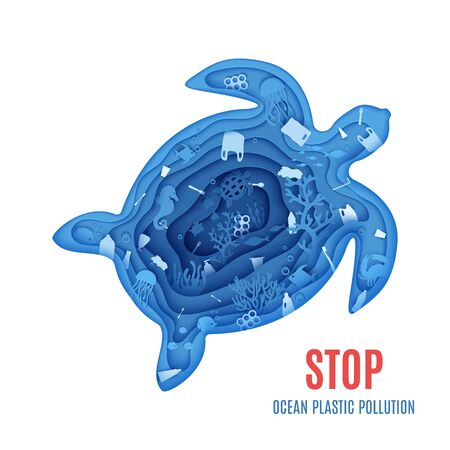 Silhouette of a turtle cut out of paper and ocean pollution banner. Craft underwater ocean deep cave with plastic rubbish. Papercut marine cartoon animals. Vector World Ocean Day environment concept 向量圖像