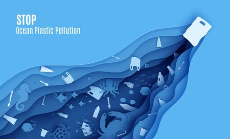 Stop ocean plastic pollution banner design template in paper cut style. Papercut butterfly fish, seahorse, moonfish, turtle, crab, octopus and plastic trash. Vector World Oceans Day concept