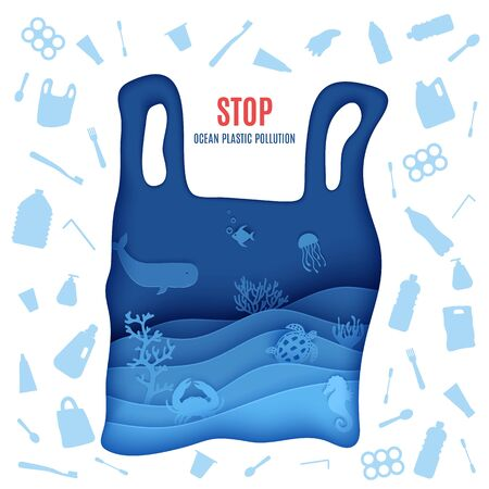 Stop ocean plastic pollution poster in paper cut style. Plastic bag silhouette carved from cardboard whith marine life and single used plastic spoons, fork, bottle, tube toothbrush. Vector eco concept