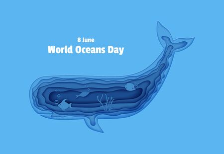 Silhouette of a sperm whale cut out of paper. Papercut style butterflyfish, jellyfish, moonfish, turtle. Craft underwater ocean cave with fishes, coral reef seabed alga Vector World Ocean Day concept.