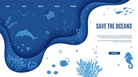 Web page design template in paper cut style underwater ocean underwater view through cave porthole. Coral reef seabed fish in algae waves. Vector paper craft diving World Water Day website concept Foto de archivo - 136813502