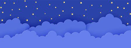 Ciel nocturne en papier découpé. Arrière-plan 3d avec paysage sombre et nuageux avec des étoiles et de l'art de la découpe de papier de la lune. De jolis nuages en origami en carton. Carte de vecteur pour souhaiter bonne nuit doux rêves Vecteurs