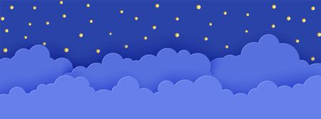 Night sky in paper cut style. 3d background with dark cloudy landscape with stars and moon papercut art. Cute cardboard origami clouds. Vector card for wish good night sweet dreams Vettoriali