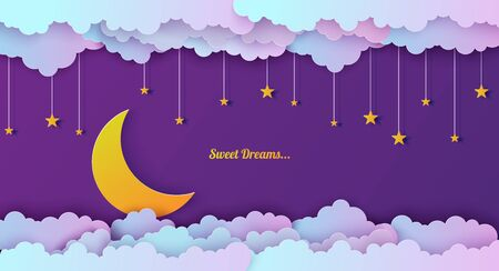 Night sky in paper cut style. Cut out 3d background with violet and blue gradient cloudy landscape with stars and moon papercut art. Cute origami clouds. Vector card for wish good night sweet dreams Foto de archivo - 137092493