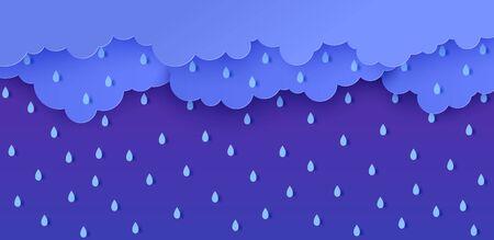 Lluvia y nubes en estilo de corte de papel. Concepto de tiempo de tormenta de vector con gotas de agua que caen del cielo nublado. Plantilla de fondo de papercut de tormenta para banner de venta de descuentos de monzón de otoño