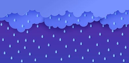 Rain and clouds in paper cut style. Vector storm weather concept with falling water drops from the cloudy sky. Storm papercut background template for autumn monsoon discounts sale banner