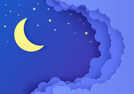 Night sky in paper cut style. 3d background with dark cloudy landscape with stars and moon papercut art. Sky with stars. Cute cardboard origami clouds. Vector card for wish good night sweet dreams.