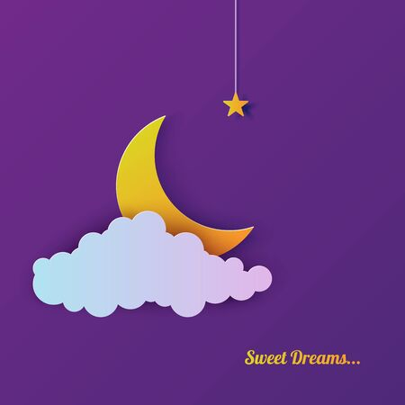 Night sky in paper cut style. Cut out 3d background with violet and blue gradient cloud and star on rope and moon papercut art. Cute origami banner. Vector card for wish good night sweet dreams.