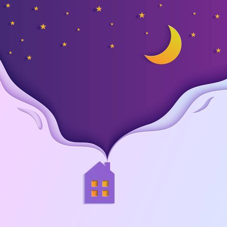 Night sky in paper cut style. Cute house with smoke from the chimney. 3d background with violet and blue gradient heaven with stars and moon papercut art. Origami clouds. Vector card illustration. Ilustrace