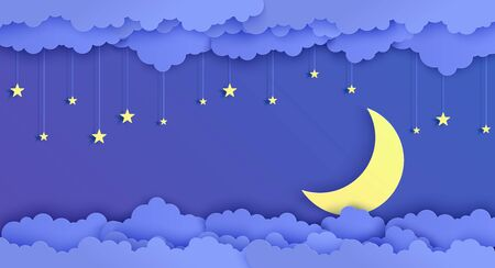 Night sky in paper cut style. 3d background with blue cloudy landscape with stars on rope and moon papercut art. Cute cardboard origami clouds. Vector card for wish good night sweet dreams.