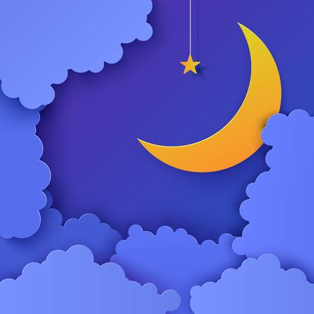 Night sky in paper cut style. 3d background with blue cloudy landscape with star on rope and moon papercut art. Cute cardboard origami clouds. Vector card for wish good night sweet dreams Foto de archivo - 137725396