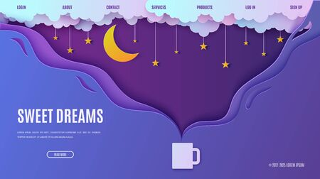 Night sky in paper cut style. Web page design template steam from hot drink cup. 3d background with cloudy landscape with stars on rope and moon papercut art. Vector card illustration. Origami clouds
