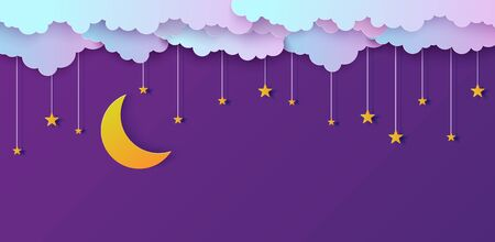 Night sky in paper cut style. Cut out 3d background with violet and blue gradient cloudy landscape with stars and moon papercut art. Cute origami clouds. Vector card for wish good night sweet dreams.